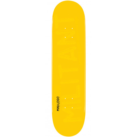 Mini Logo Militant Skateboard Deck 124 Yellow - 7.5 x 31.375