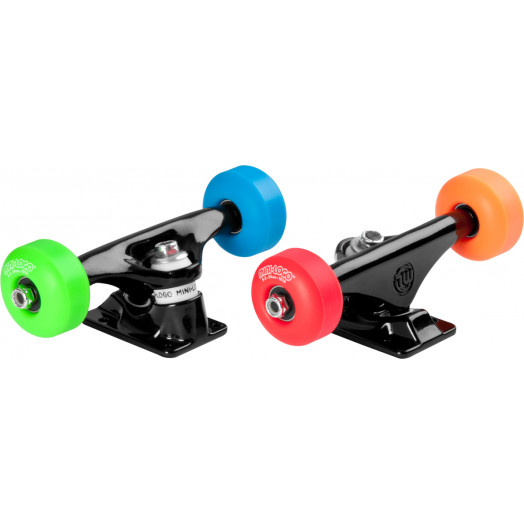"""Mini Logo Truck Assembly - 8"""" Black - ML Bearings - 52mm 101a Assorted Color Wheels"""