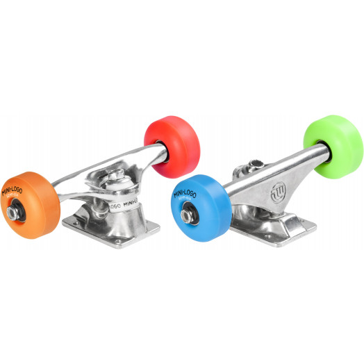 """Mini Logo Truck Assembly - 7.63"""" Polished - ML Bearings - 52mm 101a Assorted Color Wheels"""