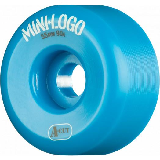 Mini Logo Skateboard Wheel A-cut 55mm 90A Blue 4pk
